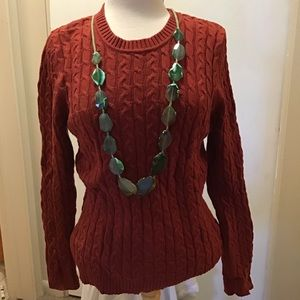 Cable Knit Sweater Croft & Barrow Brick Orange GUC